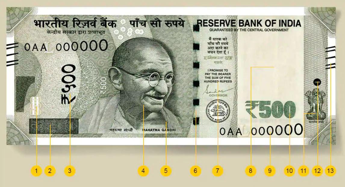 500 rupee note identification marks