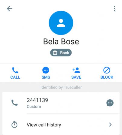 Truecaller screenshot shows the number 2441139 belongs to Bela Bose.