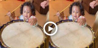Raj Chakraborty shared a Video of Yuvan Playing Dhaak